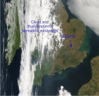 Satellite Picture for 1200GMT on 10/08/2003
